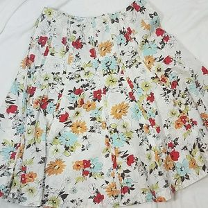 CAbi floral circle Dolly skirt white
